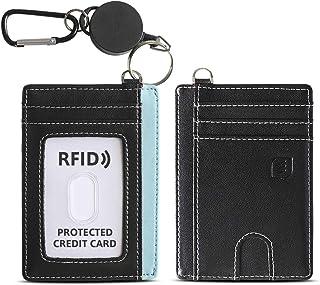 ROCONTRIP ID/ICカードホルダー 両面カードケース 革製 伸縮リール付き クレジットカード 社員証 名刺 定期入れ 通勤 通学 パスケース 縦型