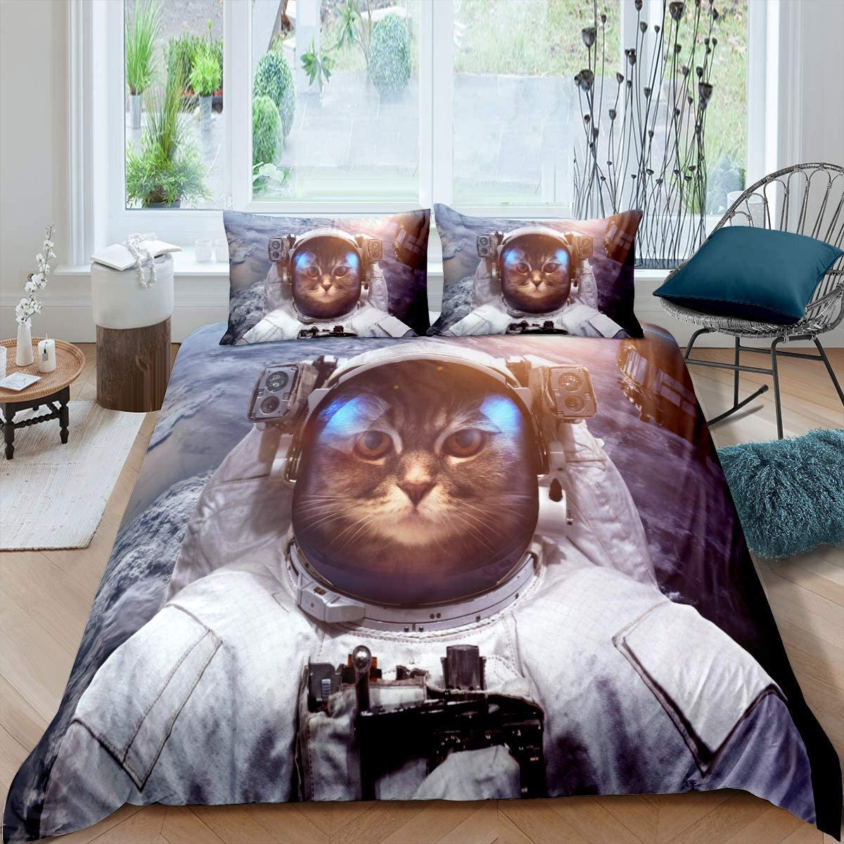 Duvet Cover 売れ筋ランキング Set Full Size 流行 Space Outer Cat 3D Sma Aerospace