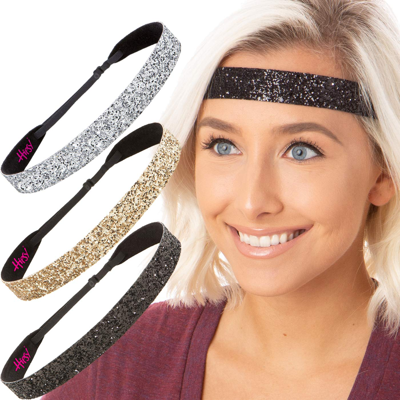 Hipsy Women's Adjustable NO SLIP Wide Bling Glitter Headband (3pk Wide Black/Gold/Silver Bling Glitter)