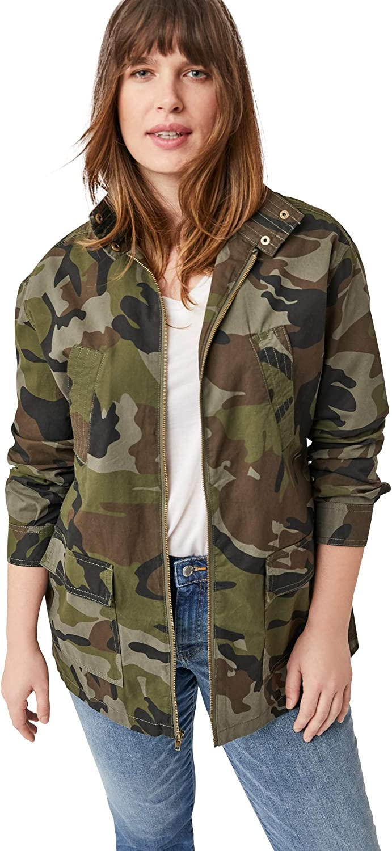 ellos Women's Plus Size Camo Utility Jacket Lightweight with 4 Pockets