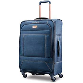 American Tourister Belle Voyage Softside Luggage with Spinner Wheels, Blue Denim, Checked-Medium 25-Inch
