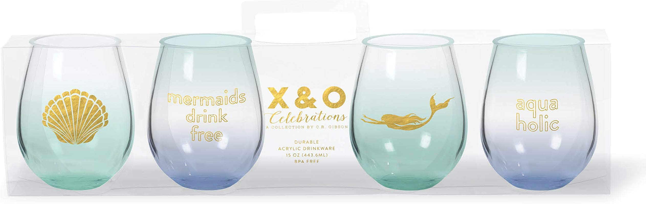 C R Gibson QWGS4 20886 4 Pack Stemless Wine Mermaid
