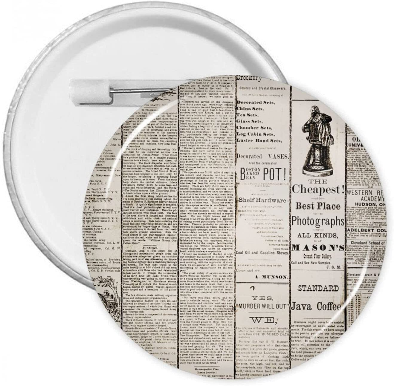 Funny Regular Wholesale store Retro Newspaper 1.2 1.8 2.3 Pins Inch Round Butto Brooches