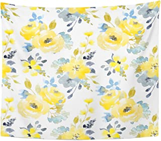 Emvency Tapestry Black Floral Watercolor Bright Summer Pattern Yellow and Blue Abstract Flowers Gray Simple Botanical Home Decor Wall Hanging for Living Room Bedroom Dorm 50x60 inches