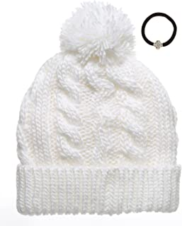 b11a7d1b94e Newhattan Women s Thick Oversized Cable Knitted Fleece Lined Pom Pom Beanie  Hat with Hair Tie.