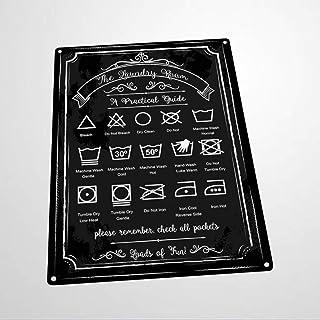 BYRON HOYLE Plaque murale en métal avec guide de lessive - Décoration murale pour salle de bain ou buanderie - Affiche vin...