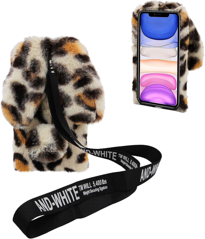 3D Bunny Ears Plush Case for LG K51 with Adjustable Crossbody Strap, DasKAn Girls Winter Warm Handmade Bling Diamond Soft Rabbit Fluffy Furry Fur Shockproof Protective Phone Cover, Leopard Beige