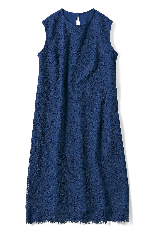 IEDIT 女っぷりが上がるレースノースリーブドレス〈ブルー〉