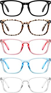CCVOO 5 Pack Reading Glasses Blue Light Blocking, Filter UV Ray/Glare Computer Readers Fashion Nerd Eyeglasses Women/Men (C3 Mix, 1.5)