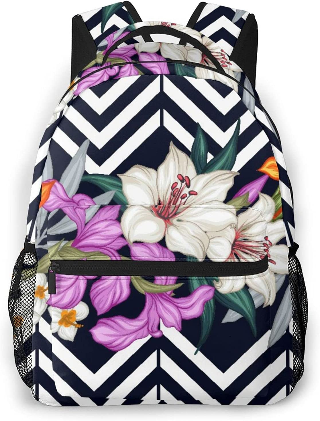 Backpack for Teens Men Women Packet Flower Tampa Mall Hawaiian Max 51% OFF Storage Blac