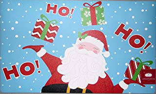 Trim A Home Christmas Holiday Santa Clause Ho Ho Ho Doormat Kitchen Mat Nonskid Neoprene Backing Polyester Front 18 x 30 i...