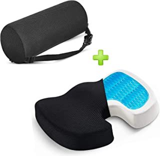 Lumbar Support Pillow Memory Foam Lower Back Cushion with Adjustable Straps Perfect for Computer – Office Chair – car seat/Breathable Machine Washable Cover (Roll & Gel Seat Set)