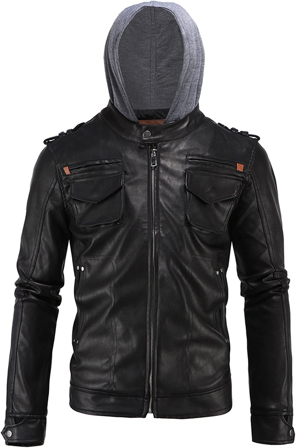 Gihuo Men's Faux Leather PU Hooded Moto Jacket