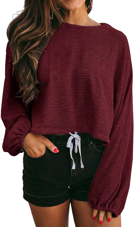 40% OFF Cheap Sale GAMISOTE Women's Waffle Knit [Alternative dealer] Long Oversized Tops Cr Plain Sleeve