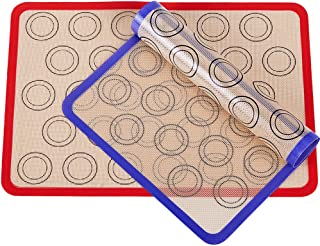 Macaron Silicone Baking Mat, Set of 2 Cooking Liners, Non Stick Silicon Baking Pastry Mat Sheet for Rolling Dough, Macarons, Pastry, Pie Crust, Fondant, Pizza and Cookies, Cake and Bread Making