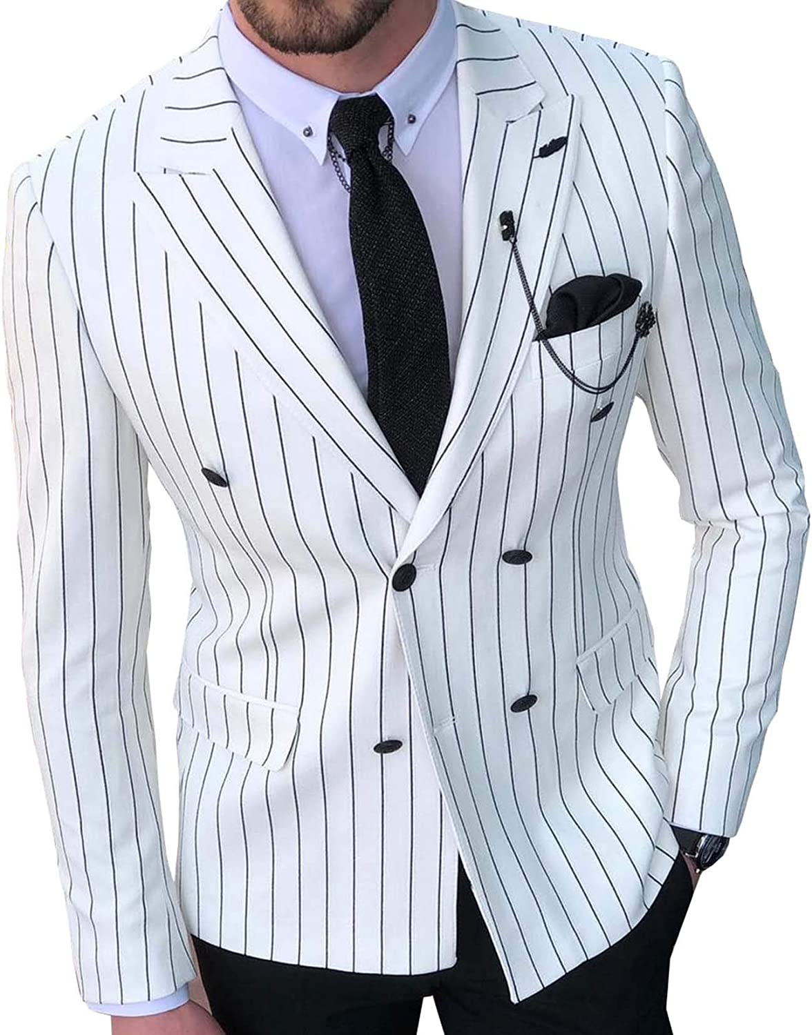 1 One Piece Mens Suit Jacket Fashion Peak Lapel Double Breasted Stripes Business Blazer for Wedding