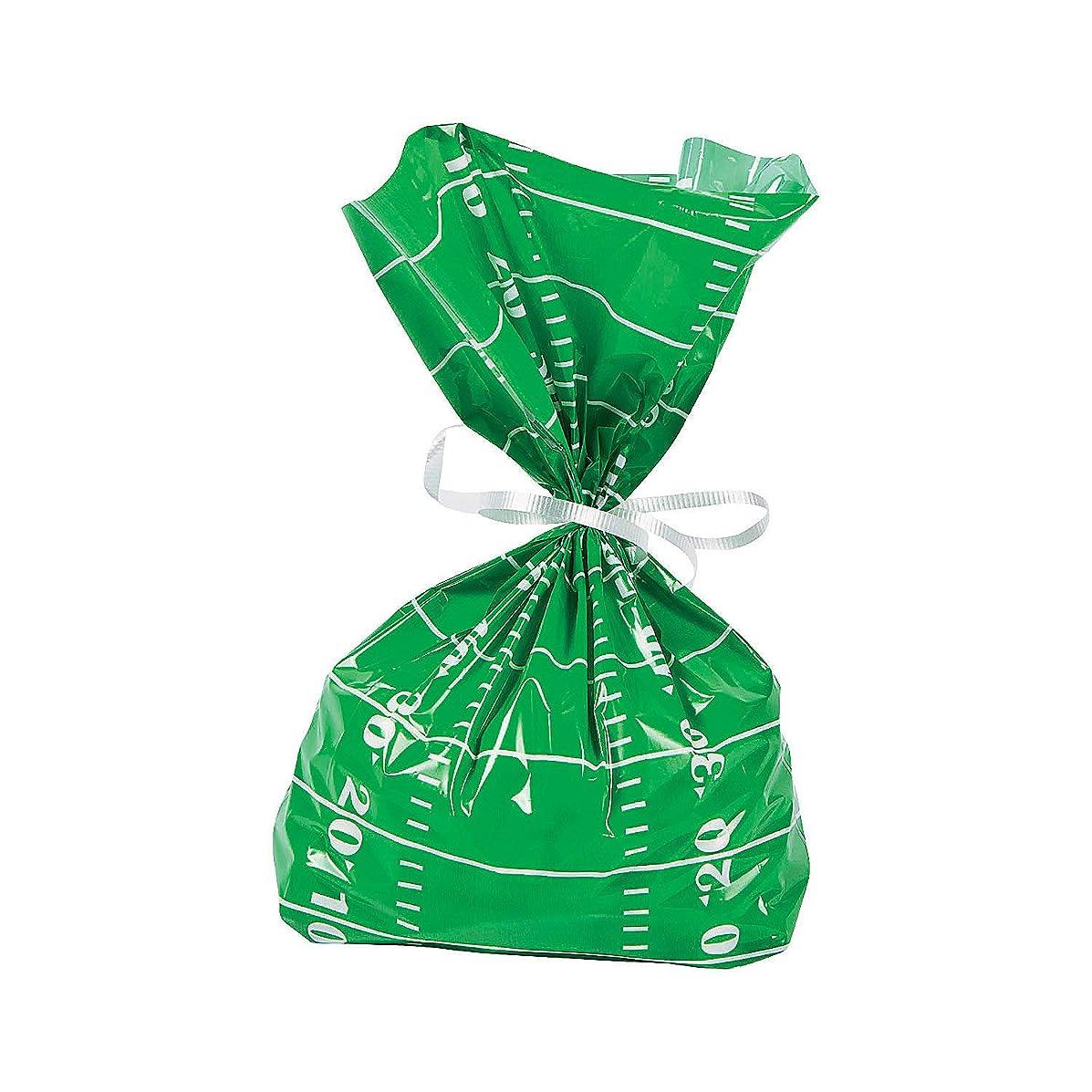 Fun Express - Football Field Cello Bags (dz) - Party Supplies - Bags - Cellophane Bags - 12 Pieces