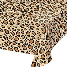 "Creative Converting TABLECOVER PL 54"" X 108"" AOP Leopard Animal Print Plastic Tablecloth, 54 x 108, Multicolor"