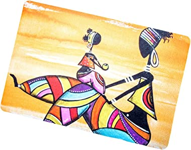 African Woman and Kids Decorative Floor Mat Colorful Collage Doormat