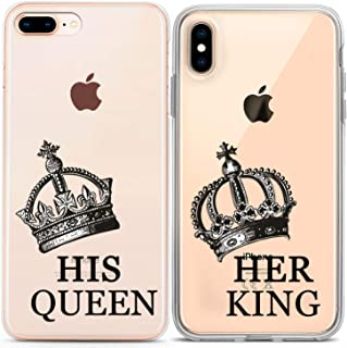 Lex Altern Couple Case for iPhone 11 Pro Xs Max 10 X Xr 8 Plus 7 6s SE 5s Crown King BFFs Silicone Cute Luxury Clear Her Cover Relationship Lightweight Royal Gift TPU His Flexible Queen Matching