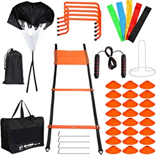 skonhed Sports Speed Agility Training Set - Includes Ladder, 24Cones with Holder, Running Parachute, Jump Rope, Resistance...