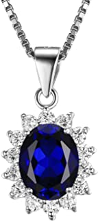 JewelryPalace Gemstones Stone Birthstone Statement Necklace for Women 925 Sterling Silver Halo Pendant Necklace for Women Princess Diana William Kate Middleton Necklace Chain Box 18 Inches