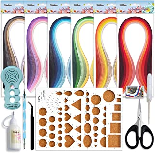 JUYA Paper Quilling Kits with 30 Colors 600 Strips and 8 Tools (Width:3mm with Glue, Blue Tools)