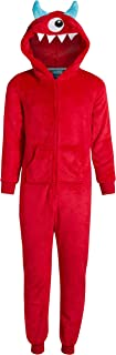 Only Boys' Footless Micro Fleece Onesie Pajamas with Character Hood and Zipper