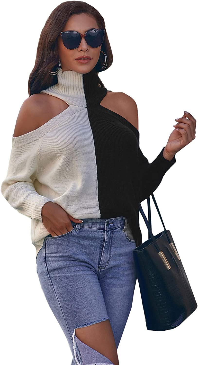 Floerns Women's Long Sleeve Cold Shoulder Colorblock High Neck Pullover Sweater