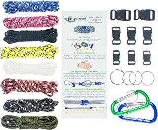 Paracord Survival Bracelet & Project Kit – 550 Parachute Cord, Buckles, Carabiners, Key Rings – (Starter & Hardware Kits Include Paracord Needle & Forceps) – Made in USA