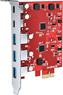 Inateck PCIe USB 3.2 Gen 2 uitbreidingskaart met 3 USB A-poorten en 2 USB C-poorten 8 Gbps PCIe 5-poorts kaart Geen extern...