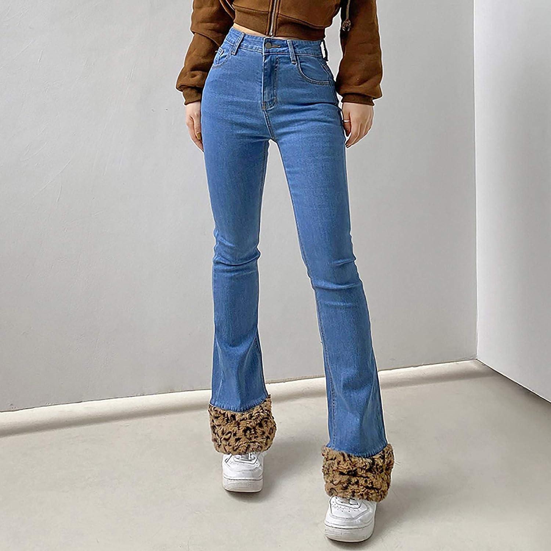 FUNEY Women's Skinny Pencil Bell Bottom Jeans Leopard Splicing Hem Stretch Slim Fitness Denim Classic Bootcut Pants