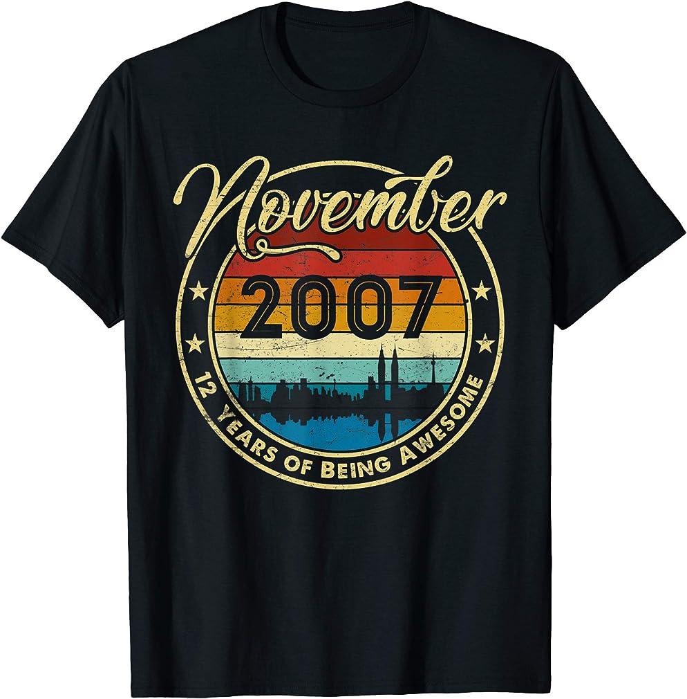 Classic November 2007 12 Years Old 12th Birthday Gift T-shirt