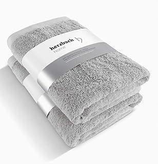 herzbach home Juego de 2 toallas de sauna, calidad prémium, 100% algodón egipcio, 86 x 200 cm, 600 g/m², color gris plateado