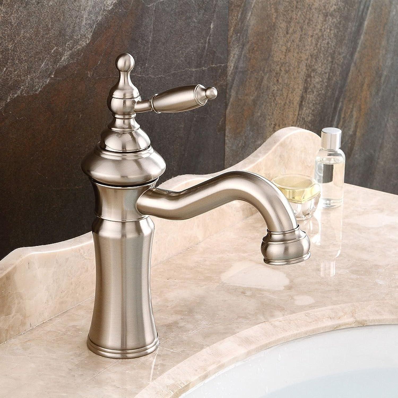 Bijjaladeva Wasserhahn Bad Wasserfall Mischbatterie Waschbecken Waschtisch Armatur für BadezimmerGebürstet Waschbecken Retro Heie und Kalte Waschbecken Bad Armatur Drehung