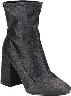 Women Glitter Leatherette Block Heel Bootie FH76