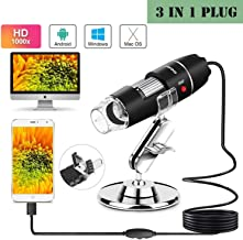 USB Digital Microscope, Upgrade 1000x HD USB Microscope with 8 LED, Mini Magnification Endoscope with Type-C OTG Adapter and Metal Stand, Compatible with Mac Window 7 8 10 Android Linux