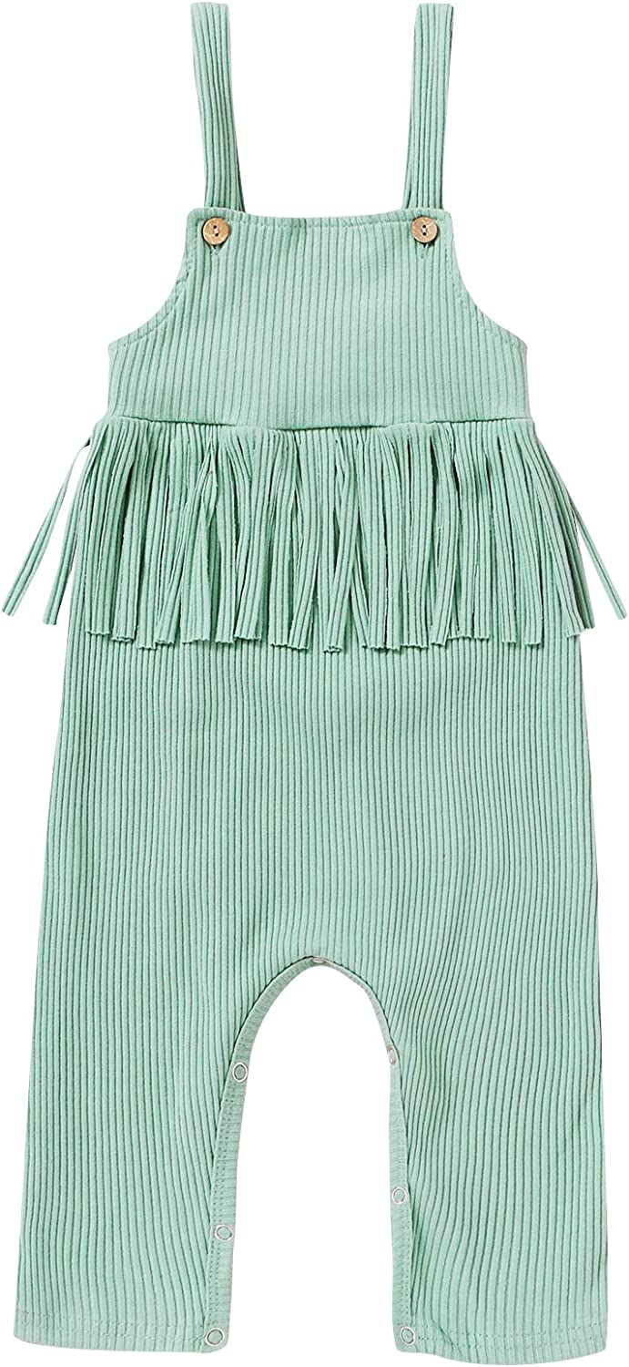 YOUNGER STAR Toddler Baby Girls Jumpsuit Clothes Knit Strap Romper Infant Girls Overalls Pants Outfits 0-24 M
