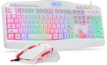 Redragon S101 Wired Gaming Keyboard and Mouse Combo, LED RGB Backlit Gaming Keyboard with Multimedia Keys, Wrist Rest, Plus RGB Backlit Gaming Mouse with 3200 DPI for Windows PC Gamers - [White]