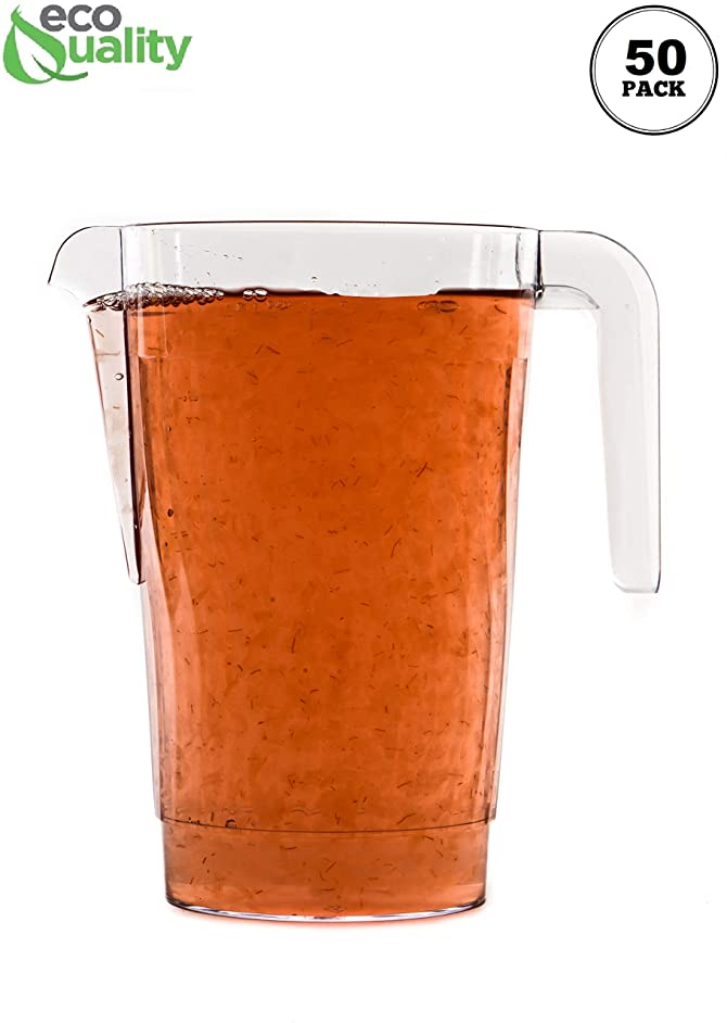 [100 PACK] 50 oz Crystal Clear Plastic Beverage Pitcher - Break Resistant Beverage Carafe - Great for Restaurants and Catering Bulk - Serveware for Water, Cold Drinks, Beer, Lemonade, Sangria (50oz)