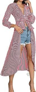 Ninimour Women V-Neck Stripes Long Sleeve Tie Waist High Low Hem Blouse Shirt Peplum Top with Belt