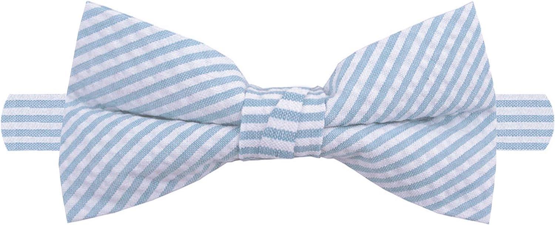 Jacob Alexander Men's Seersucker Striped Pattern Pre-tied Banded Bow Tie