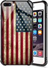 iPhone 7 Plus Case,iPhone 8 Plus Case Rossy Retro Vintage Old USA American Flag Design Tempered Glass Black Cover and Soft Silicone TPU Bumper Shock Absorption Anti-Slip Case for iPhone 7 Plus/8 Plus