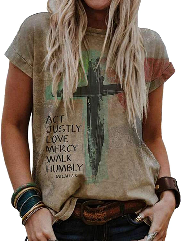 Women's Oil Paintings Cross Faith T-Shirt Vintayge Hallelujah Christian Print Shirt Casual Sweatshirt