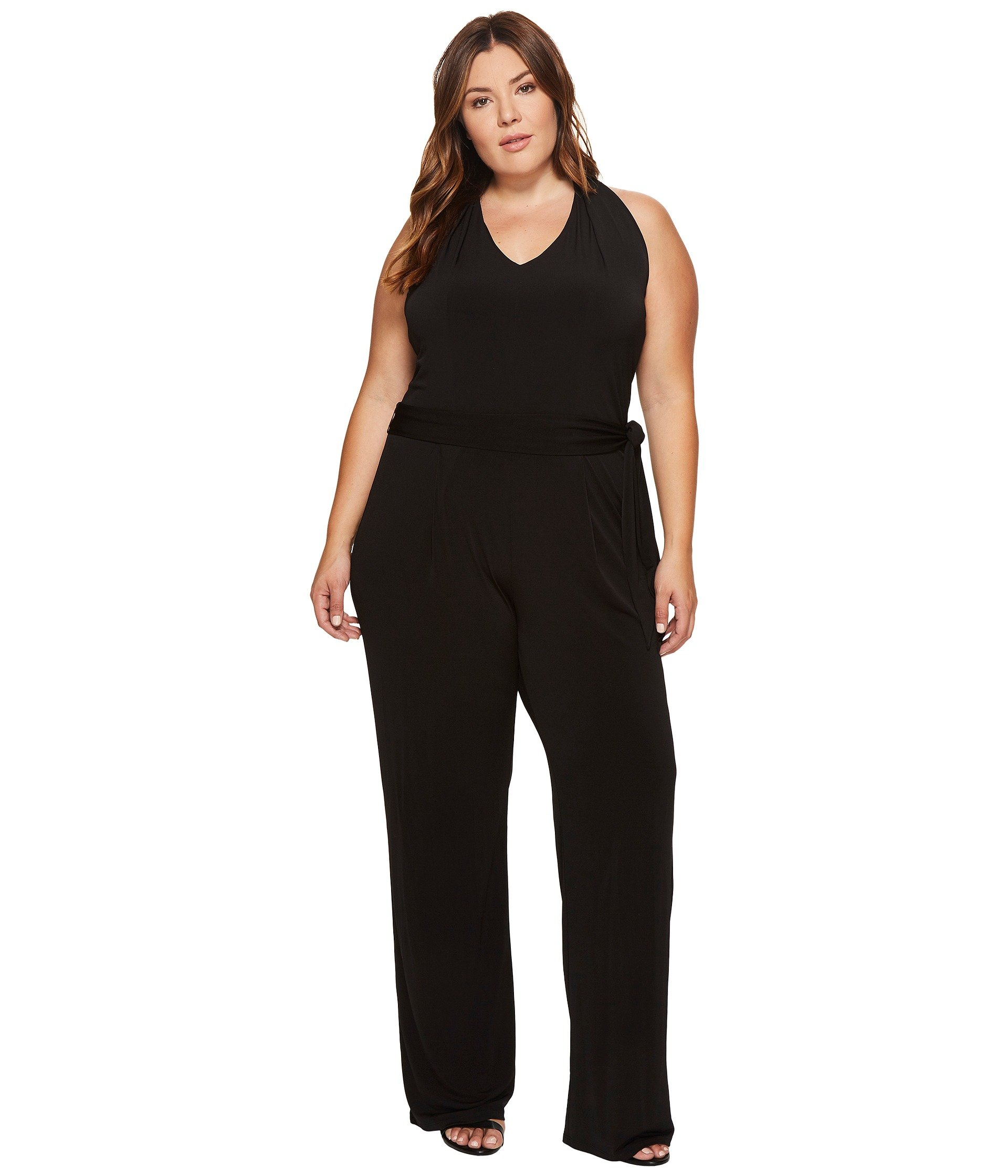 Michael Michael Kors Womens Plus Wide-Leg Sleeveless Jumpsuit Black 2X