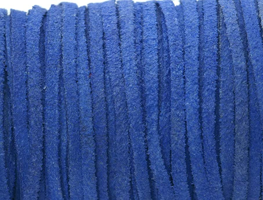Pearl Blue Flat Suede Genuine Leather Cord Lace, 3mm Width 25 Meter Spool by Greek Crafts