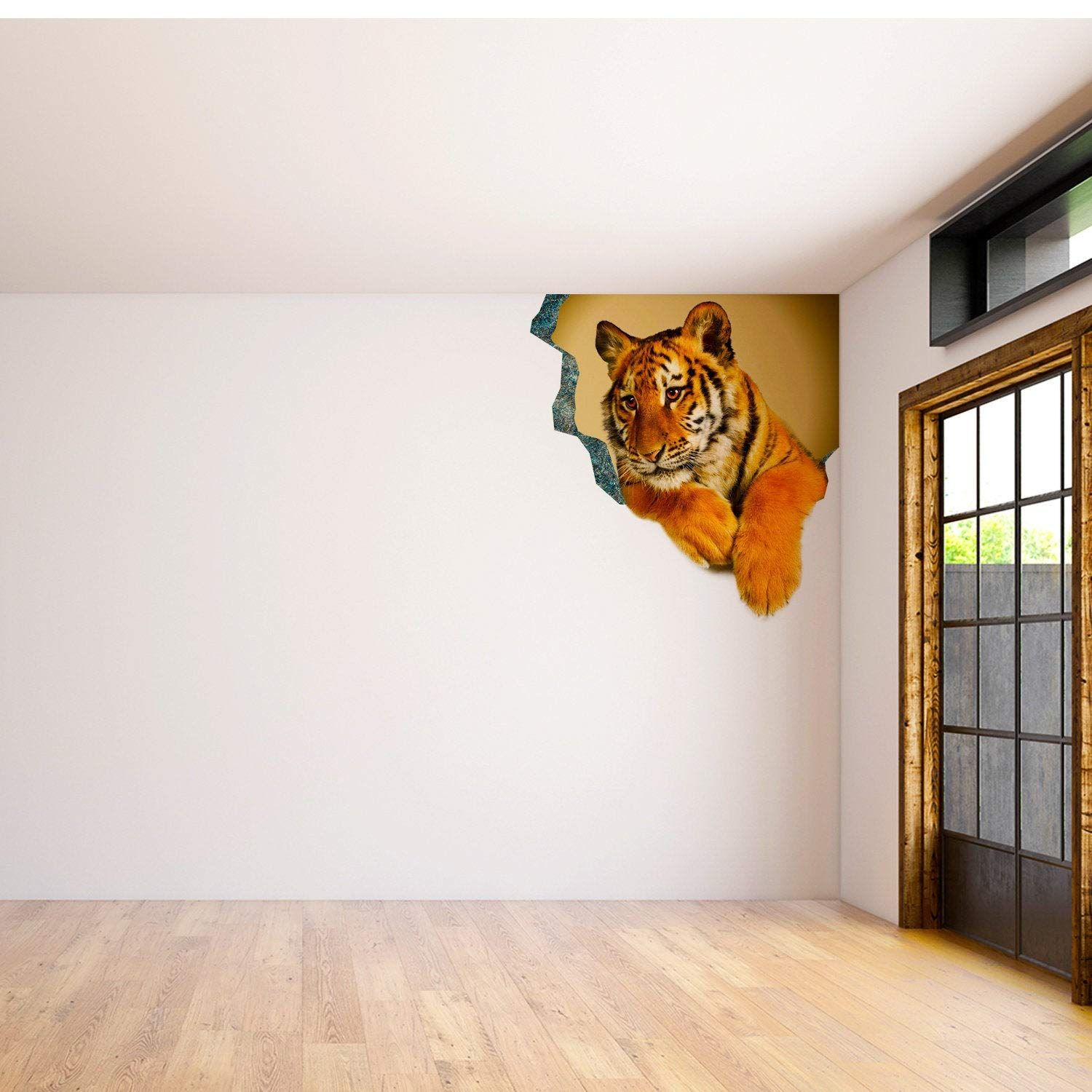 3D Art Animal Hole in Wall Sticker - Vinyl Decor Broken Illusion Peel and Stick Decal - Porthole Crack Print DIY Cracked Printed Mural Tiger