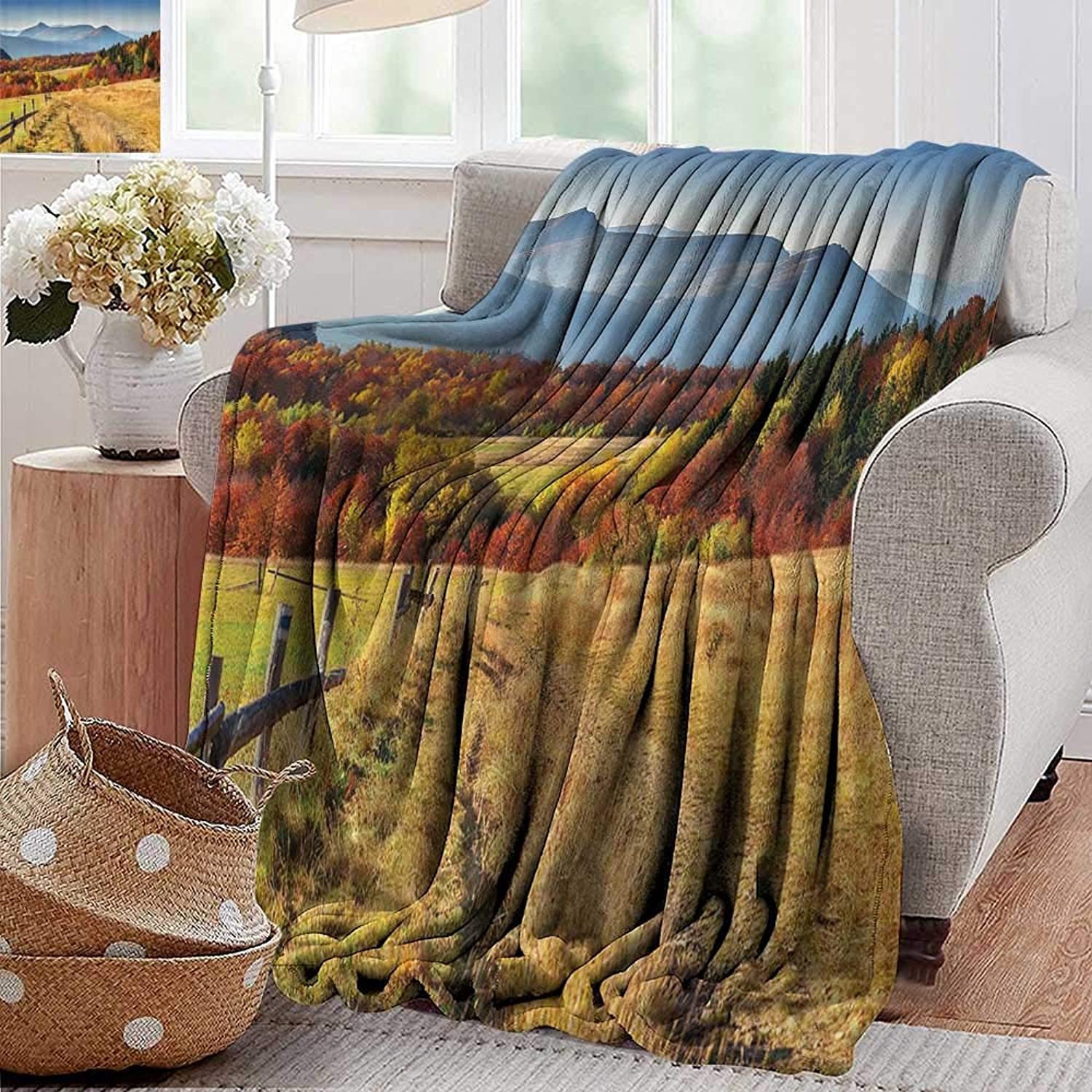 Weighted Blanket for Kids Woodsy Countryside Fences Farm Sunny Warm Fall Weather Calming View Paprika Olive bluee Weighted Blanket for Adults Kids Better Deeper Sleep 35 x60