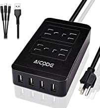 Power Strip with USB, 4 AC Outlets and 4 USB Ports(2.4A Max),5V/4A, Surge Protector with 6 ft Long Cord, 2500W, 100-240V, Black for Home/Office/School, Suitable for Phones, Tablets, Laptops by AICODE