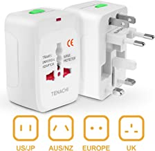TENACHI Universal Travel Plug Adapter Converter Built-in Surge Protector All in One Power Outlet Wall Charger Adaptor Works in 150 Countries EU UK US AU